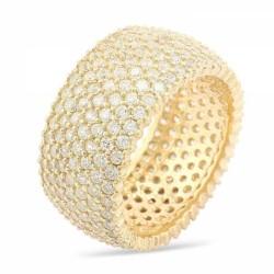 Gumush - Gümüş 7 Sıra Altın Kaplama Tamtur Bayan Yüzük
