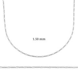 Gumush - 1.50 mm Gümüş Figaro Zincir - 0.40 mikron