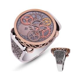 Gumush - Gümüş Gri Saat Çarkı Erkek Yüzük