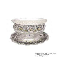 Gumush - Arı Desenli Oval Gümüş Boller