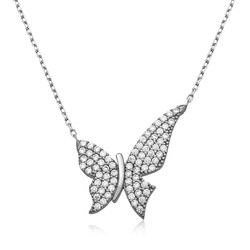 Gumush - Gümüş Kelebek Bayan Kolye