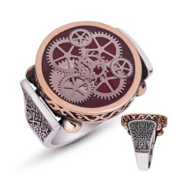 Gumush - Gümüş Bordo Saat Çarkı Erkek Yüzük