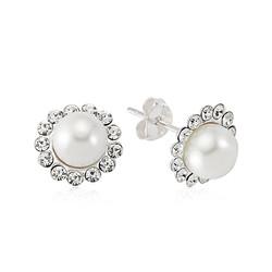 Gumush - Gümüş İnci Çiçekli Bayan Küpe