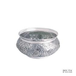 Gumush - Çiçek Desenli Gümüş Şekerlik