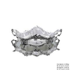 Gumush - Çiçek Motifli Gümüş Jardinyer