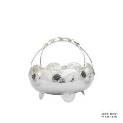 Gumush - Çiçek Motifli Gümüş Sepet