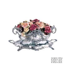 Gumush - 925 Ayar Gümüş Çiçekli Jardinyer