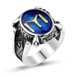 Gumush - Gümüş Mavi IYI Kayı Boyu Erkek Yüzük