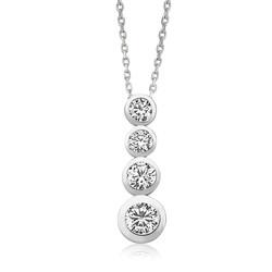 Gumush - Gümüş 4 Taş Bayan Kolye