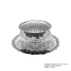 Gumush - Frezya Çiçek Desenli Gümüş Boller