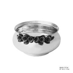 Gumush - Frezya Çiçek Desenli Gümüş Şekerlik