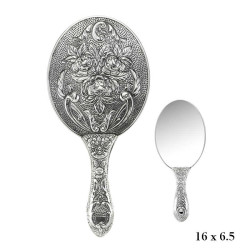 Gumush - Gümüş 925 Ayar Gül Desenli El Aynası
