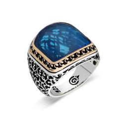 Gumush - Gümüş Açık Mavi Taşlı Erkek Yüzük