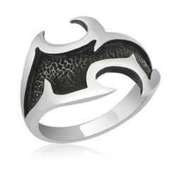 Gumush - Gümüş Dövme Desenli Erkek Yüzük