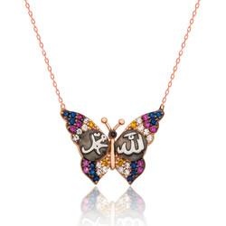 Gumush - Gümüş Allah Muhammed Yazılı Kelebek Kolye