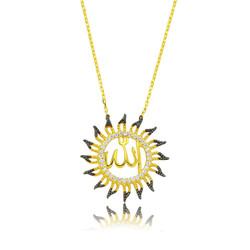 Gumush - Gümüş Allah Yazılı Güneş Bayan Kolye
