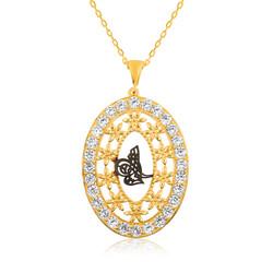 Gumush - Gümüş Üzeri Altın Kaplama Tuğra Bayan Kolye