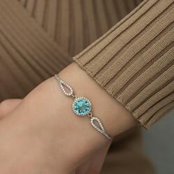 Gümüş Aquamarine Bileklik - Thumbnail