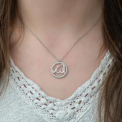 Gümüş Arapça Allah Yazılı Bayan Kolye - Thumbnail