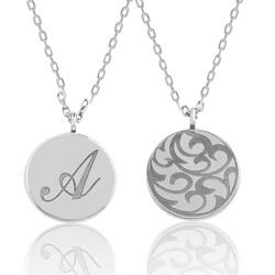 Gumush - Gümüş Arkası Desenli Harfli Plaka Kolye