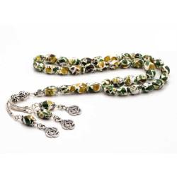 Gumush - Gümüş Arpa Kesim Renkli Toz Kehribar Tesbih