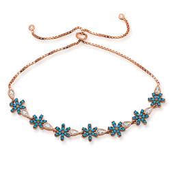 Gumush - Gümüş Asansörlü Mavi Çiçek Bileklik