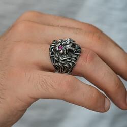 Gümüş Aslan Kafası Erkek Yüzük - Thumbnail