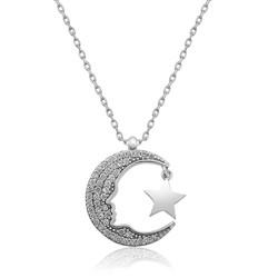 Gumush - Gümüş Atatürk Silüeti Ay Yıldız Bayan Kolye
