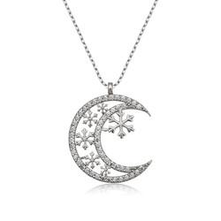 Gumush - Gümüş Ay Kar Tanesi Bayan Kolye