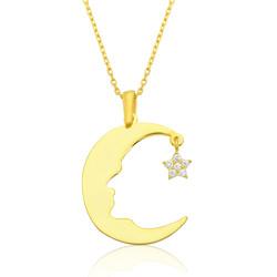 Gumush - Gümüş Ay Yıldız Atatürk Silüeti Bayan Kolye
