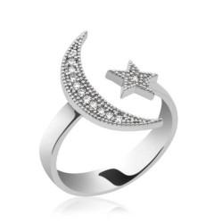 Gumush - Gümüş Ay Yıldız Bayan Yüzük