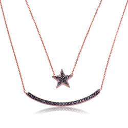 Gumush - Gümüş Çift Zincirli Ay Yıldız Bayan Kolye