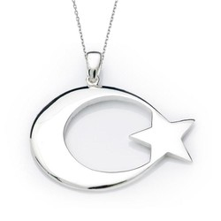 Gumush - Gümüş Ay Yıldız Bayrak Kolye