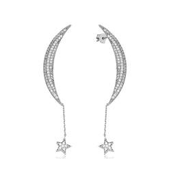 Gumush - Gümüş Zincirli Ay Yıldız Küpe