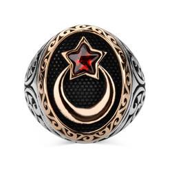 Gumush - Gümüş Ay Yıldız Erkek Yüzük (1)