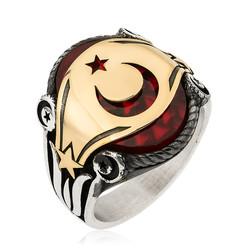Gumush - Gümüş Ay Yıldız Yanları Lale Motifli Erkek Yüzük
