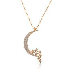 Gumush - Gümüş Ay Yıldızlı Bayan Kolye