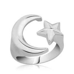 Gumush - Gümüş Ayarlanabilir Ay Yıldız Bayan Yüzük