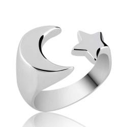 Gumush - Gümüş Ayarlanabilir Ay Yıldız Yüzük