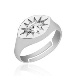 Gumush - Gümüş Ayarlanabilir Kuzey Yıldızı Şovalye Yüzük