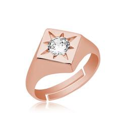 Gumush - Gümüş Ayarlanabilir Rose Kutup Yıldızı Şovalye Yüzük
