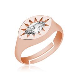 Gumush - Gümüş Ayarlanabilir Rose Kuzey Yıldızı Şovalye Yüzük