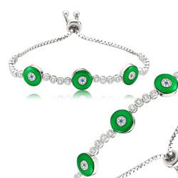 Gumush - Gümüş Yeşil Asansörlü Bayan Bileklik