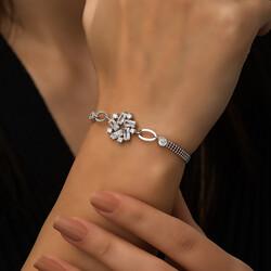 Gümüş Baget Taşlı Bayan Bileklik - Thumbnail