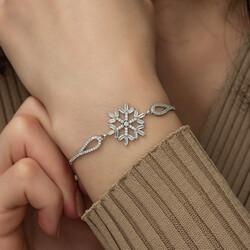 Gumush - Gümüş Baget Taşlı Kar Tanesi Bileklik (1)