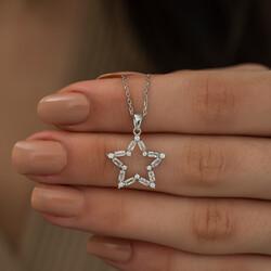 Gümüş Baget Taşlı Yıldız Kolye - Thumbnail