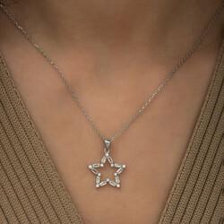 Gumush - Gümüş Baget Taşlı Yıldız Kolye (1)