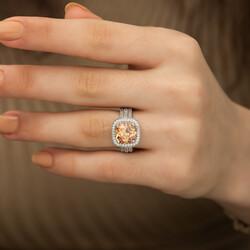 Gümüş Sarı Yuvarlak Bayan Yüzük - Thumbnail