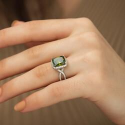 Gümüş Yeşil Baget Bayan Yüzük - Thumbnail