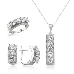 Gumush - Gümüş 5 Taş Bayan Set